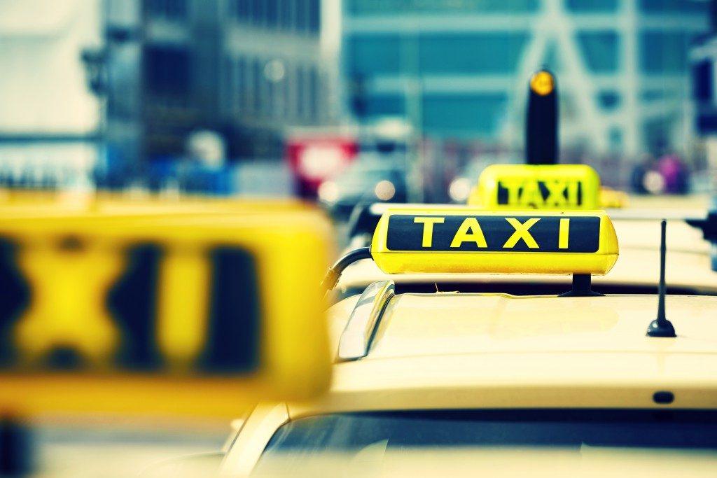 Taxi at a taxi lane