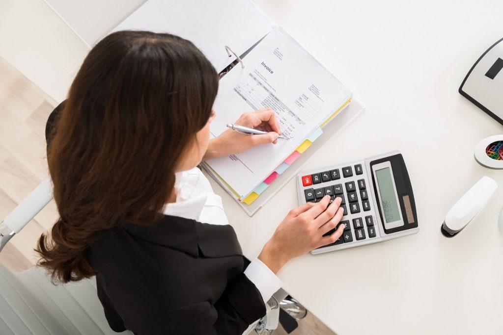 Accountant computing taxes