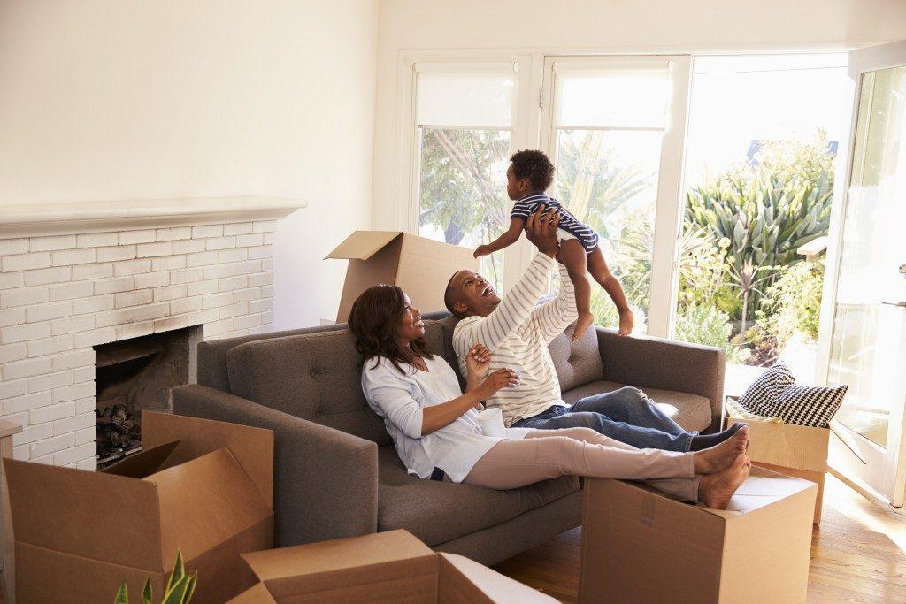Family in new living room