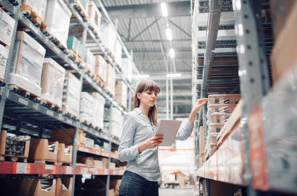 Worker checking storage