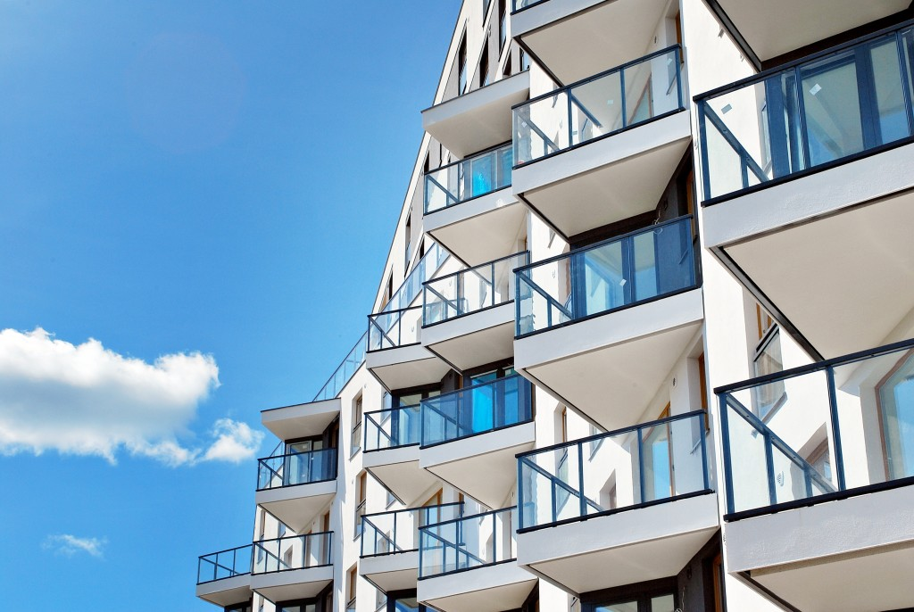 modern condominium building with balconies