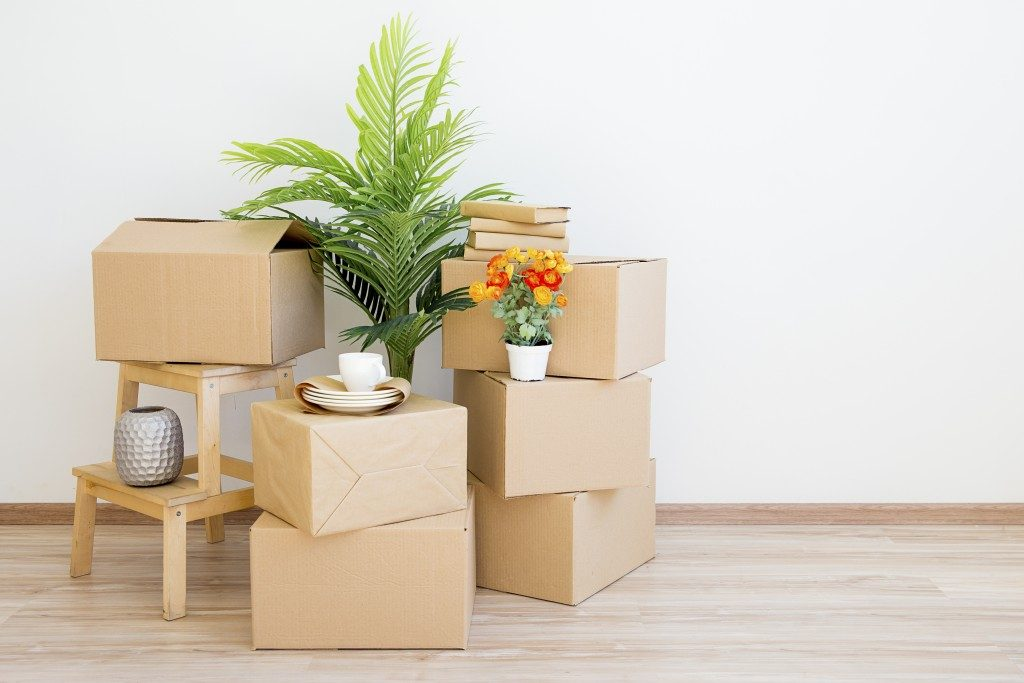 furniture and other home items packed in boxes