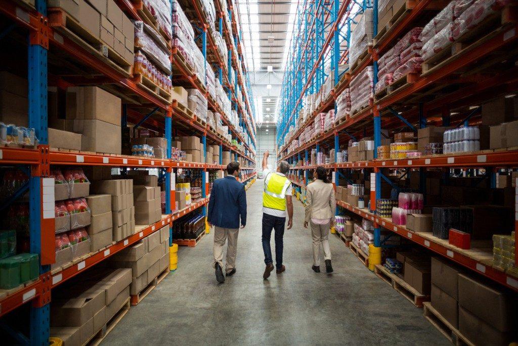 People inside a logistics warehouse