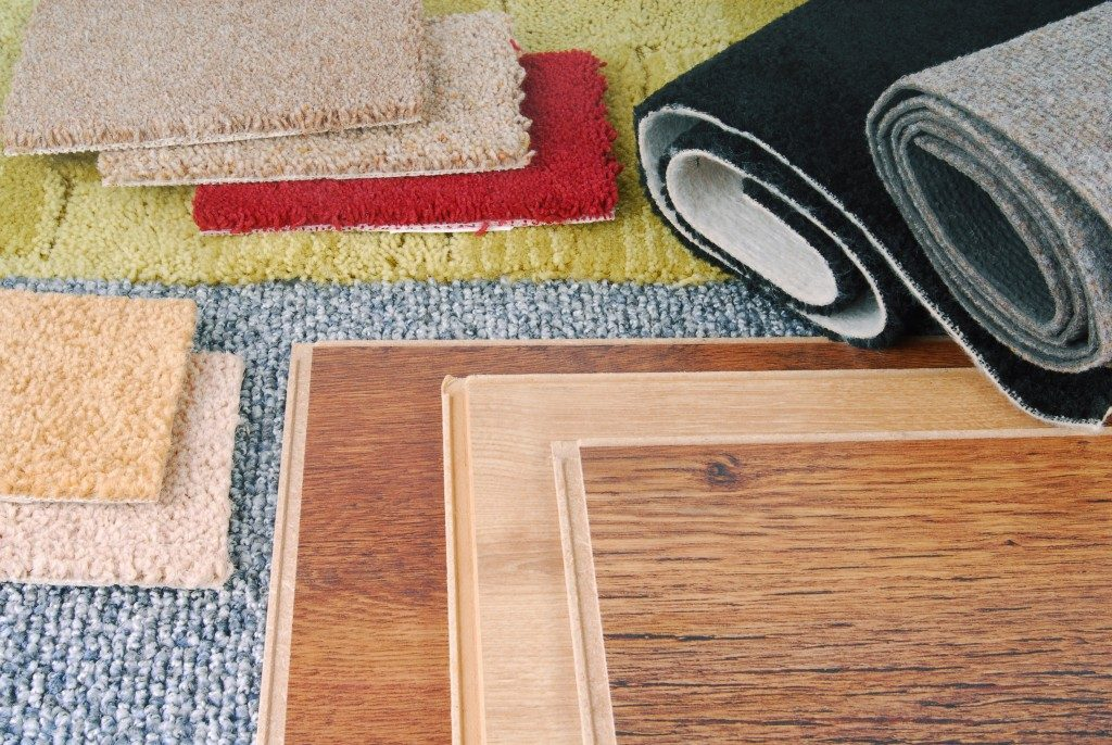 carpets in different colors and types