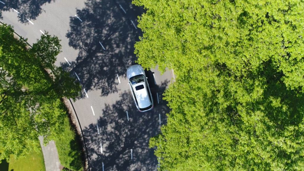 Car driving through the road in bird's eye view