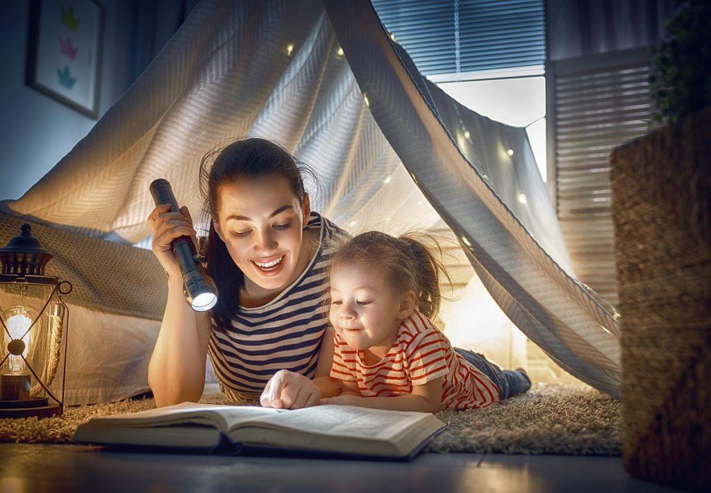 A girl having bedtime story