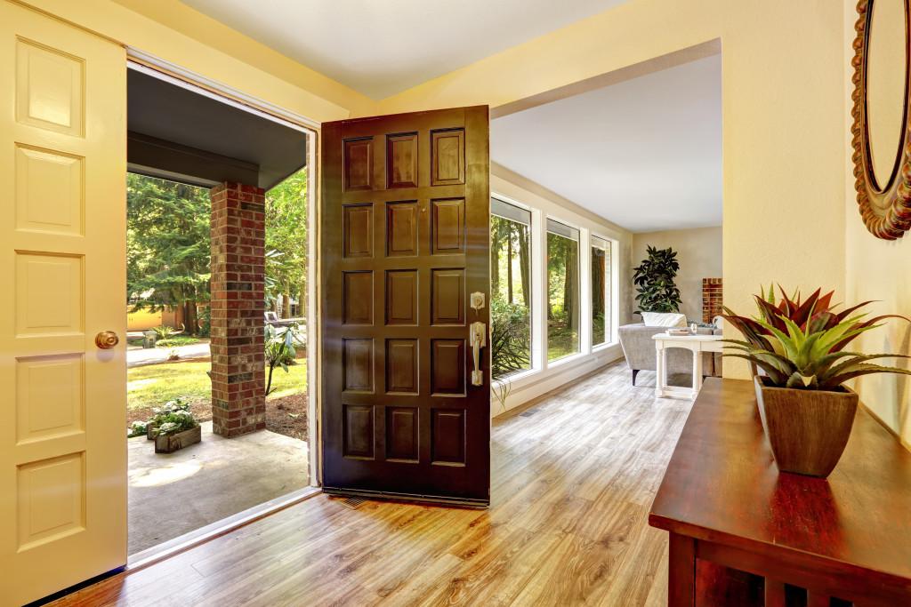 View of entrance porch through open door