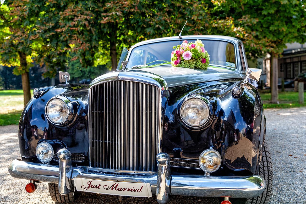 black bridal car