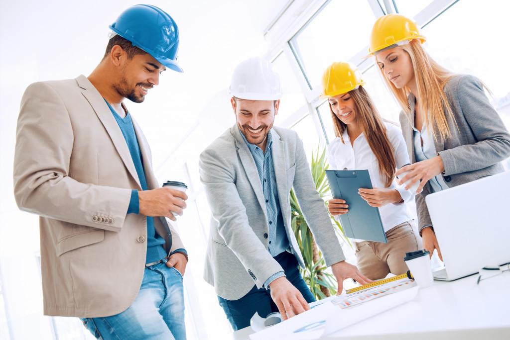 Engineers looking at plan