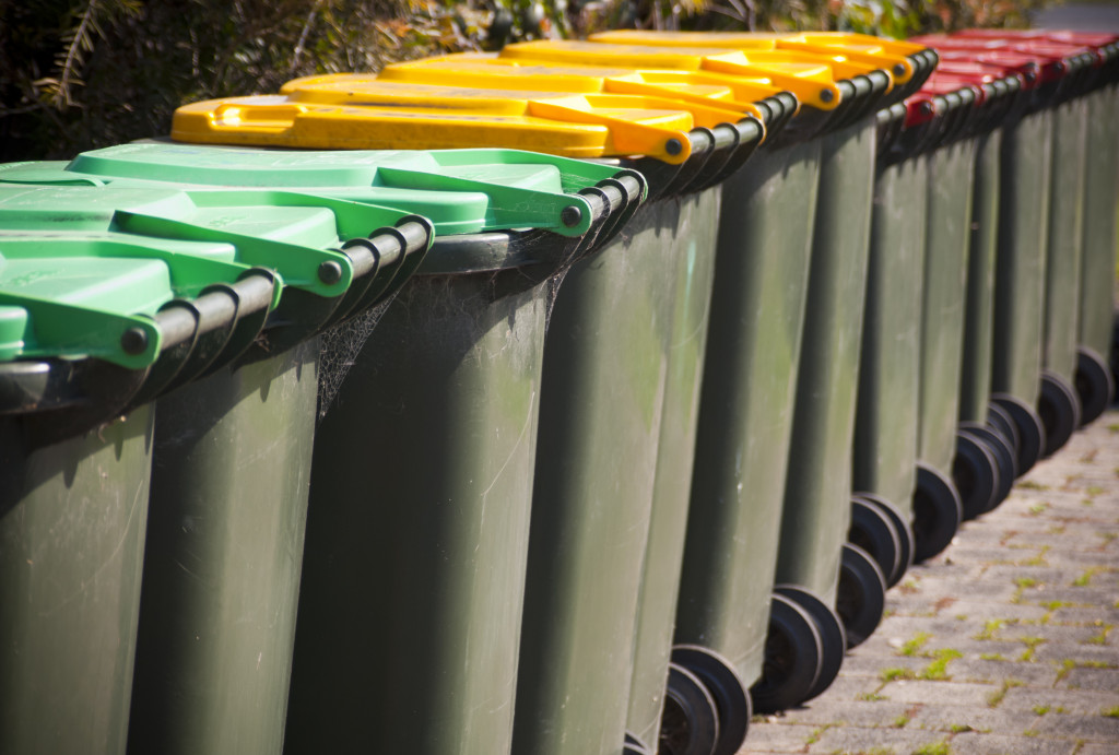 Trash bins in a line