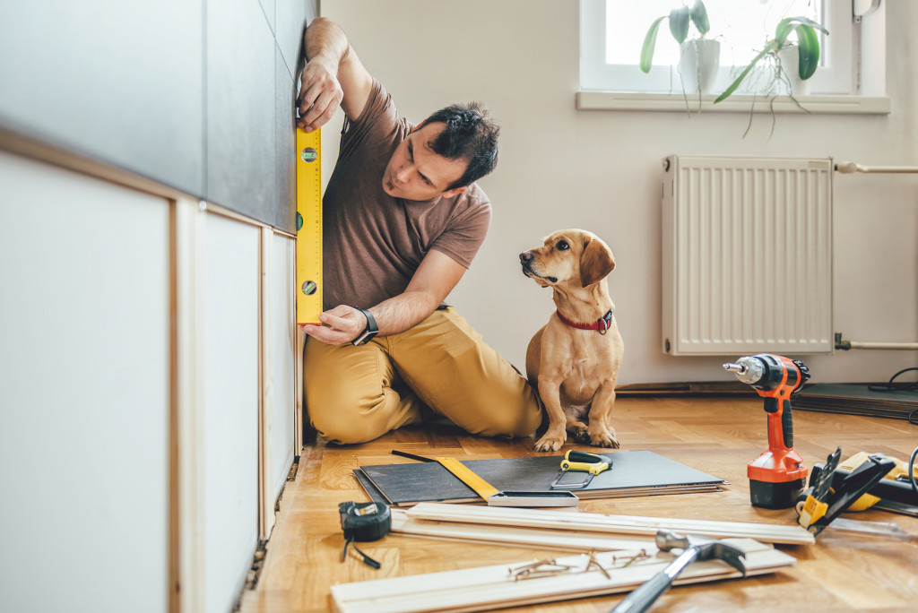 man doing DIY renovation with his dog