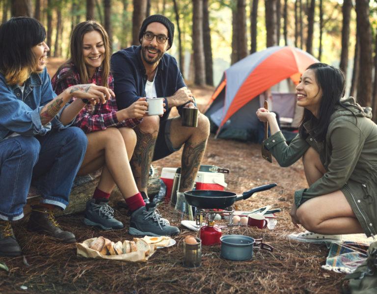 backyard camping concept