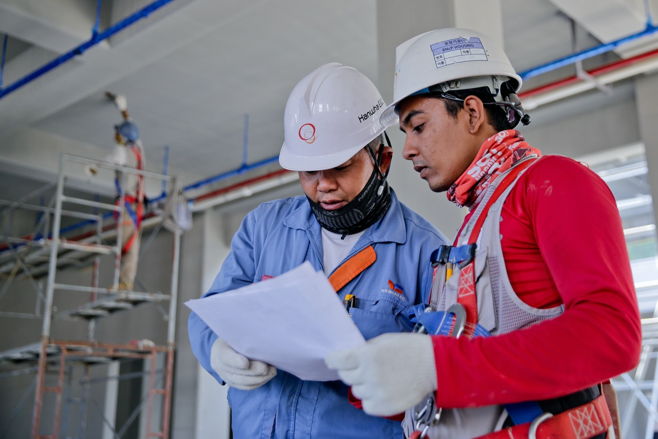 engineers reviewing safety protocol