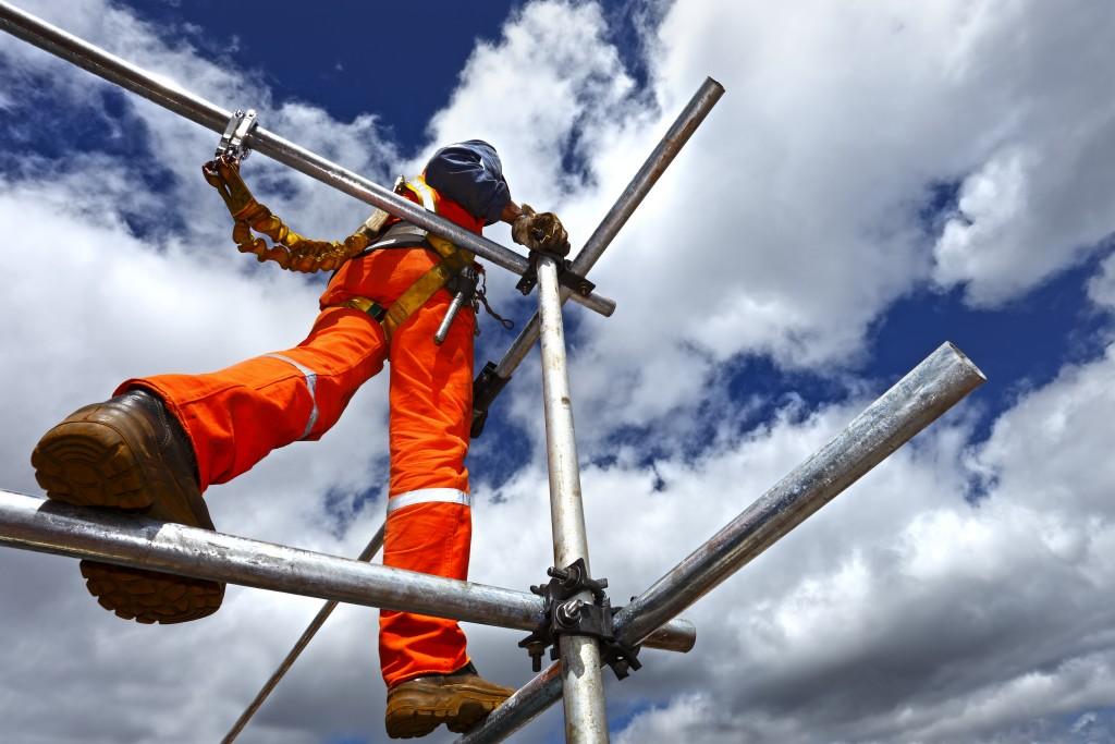 man working on a scaffolding