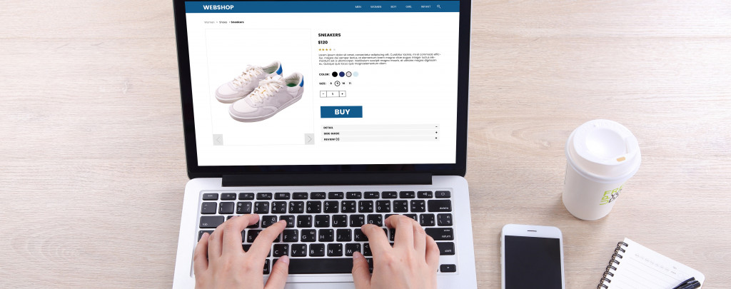 person buying shoes online